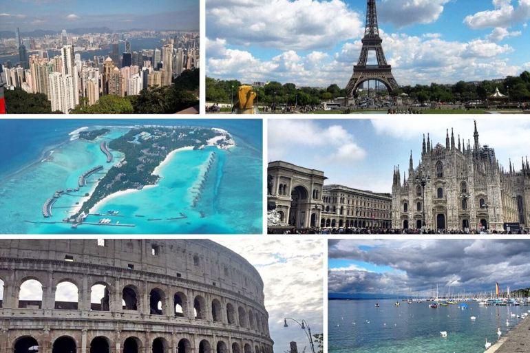 Beautiful cities we've visited: Hong Kong, Paris, Maldives, Milan, Rome and Geneva