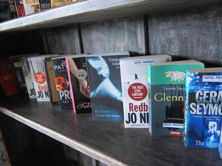 The mini-library offers some interesting reads you can lose yourself in. Pick your poison.